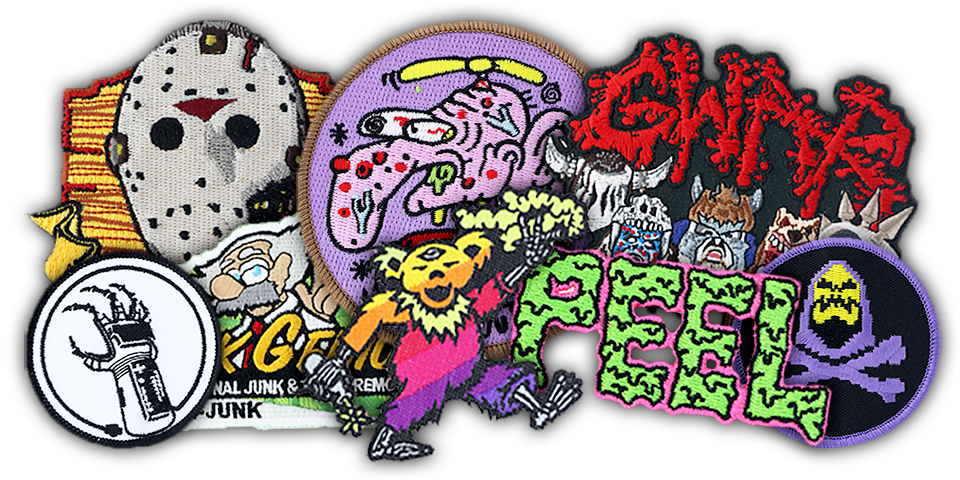 example pile of different styles of custom patches
