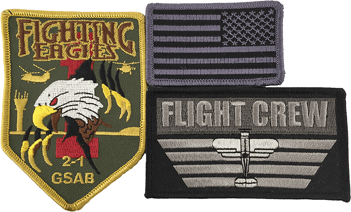 assortment of iron-on patches